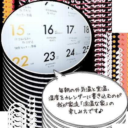 毎朝の外気温と室温、湿度をカレンダーに書き込むのが我が家流「涼温な家」の楽しみ方です♪